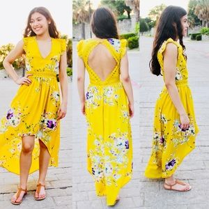 Dresses & Skirts - 🎉HP🎉Mustard Yellow Floral Hi-Lo Spring Maxi